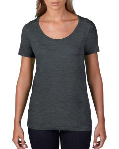 Heather Dk Grey Women's Sheer Combed Ringspun Scoop T-Shirt