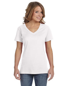 White Ladies' Featherweight V-Neck T-Shirt