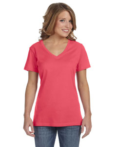 Coral Ladies' Featherweight V-Neck T-Shirt