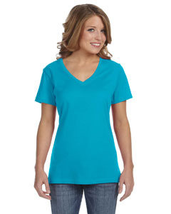 Carribean Blue Ladies' Featherweight V-Neck T-Shirt