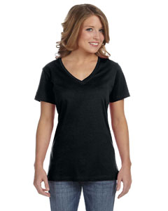 Black Ladies' Featherweight V-Neck T-Shirt