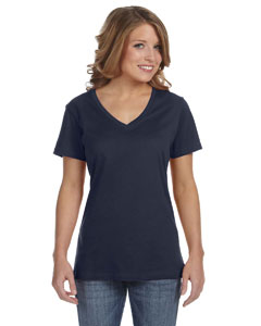 Navy Ladies' Featherweight V-Neck T-Shirt