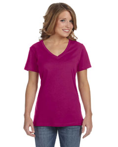 Raspberry Ladies' Featherweight V-Neck T-Shirt