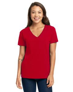 Red Ladies' Relaxed V-Neck T-Shirt
