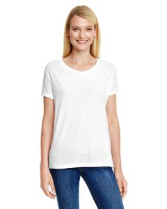 Sol White Trblnd Ladies' X-Temp® Triblend V-Neck T-Shirt