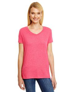 Red Triblend Ladies' X-Temp® Triblend V-Neck T-Shirt