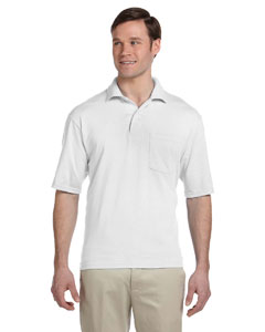 White 5.6 oz., 50/50 Jersey Pocket Polo with SpotShield™