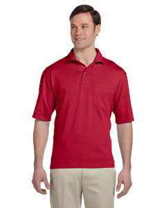 True Red 5.6 oz., 50/50 Jersey Pocket Polo with SpotShield™