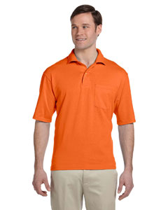 Safety Orange 5.6 oz., 50/50 Jersey Pocket Polo with SpotShield™