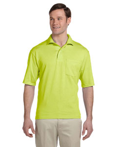 Safety Green 5.6 oz., 50/50 Jersey Pocket Polo with SpotShield™