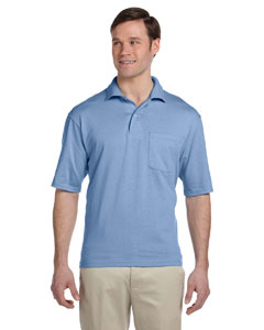 Light Blue 5.6 oz., 50/50 Jersey Pocket Polo with SpotShield™