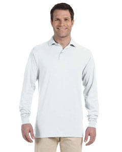 White 5.6 oz., 50/50 Long-Sleeve Jersey Polo with SpotShield™