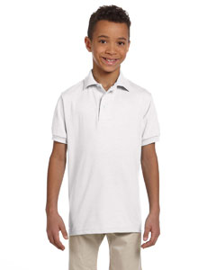 White Youth 5.6 oz., 50/50 Jersey Polo with SpotShield™