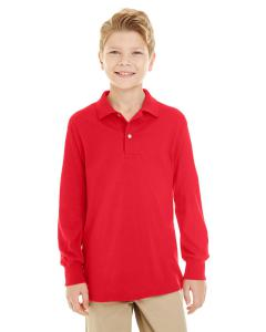 True Red Youth 5.6 oz. SpotShield™ Long-Sleeve Jersey Polo