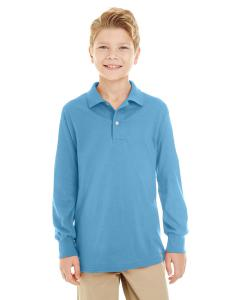 Light Blue Youth 5.6 oz. SpotShield™ Long-Sleeve Jersey Polo