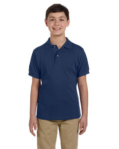 J Navy Youth 6.5 oz. Ringspun Cotton Piqué Polo