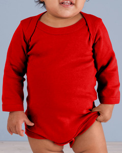 Red Infant Long-Sleeve Baby Rib Bodysuit