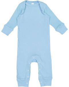 Light Blue Infant Long-Sleeve Baby Rib Coverall