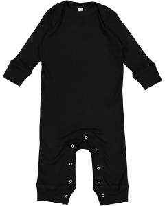 Black Infant Long-Sleeve Baby Rib Coverall