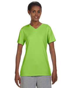 Neon Lime Ladies' 4 oz. Cool Dri® V-Neck T-Shirt