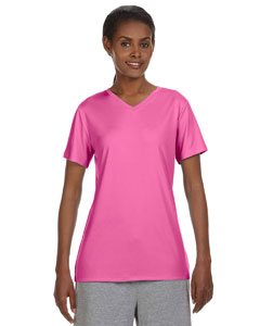 Neon Pink Ladies' 4 oz. Cool Dri® V-Neck T-Shirt