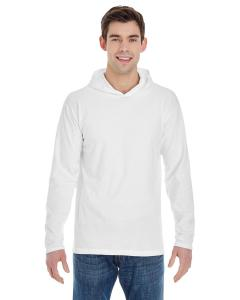 White Adult Heavyweight RS Long-Sleeve Hooded T-Shirt