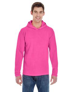 Neon Pink Adult Heavyweight RS Long-Sleeve Hooded T-Shirt