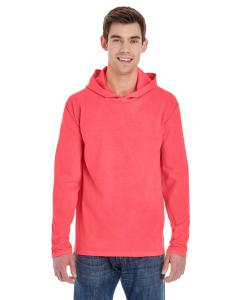 Neon Red Orange Adult Heavyweight RS Long-Sleeve Hooded T-Shirt