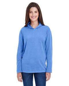 Flo Blue Adult Heavyweight RS Long-Sleeve Hooded T-Shirt