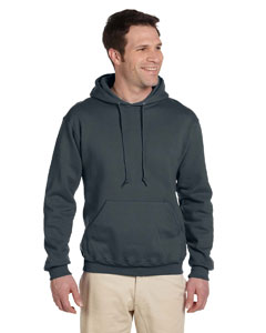 Black Heather Adult 9.5 oz. Super Sweats® NuBlend® Fleece Pullover Hood