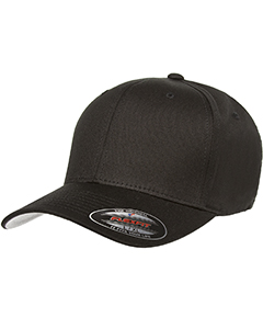 Black 6-Panel Structured Mid-Profile Cap