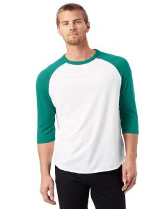 White/ Green Men's Vintage Baseball T-Shirt