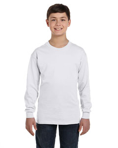 White Youth 6.1 oz. Tagless® ComfortSoft® Long-Sleeve T-Shirt