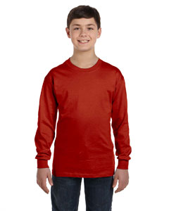Deep Red Youth 6.1 oz. Tagless® ComfortSoft® Long-Sleeve T-Shirt
