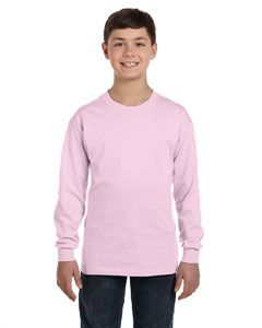Pale Pink Youth 6.1 oz. Tagless® ComfortSoft® Long-Sleeve T-Shirt