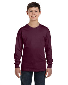 Maroon Youth 6.1 oz. Tagless® ComfortSoft® Long-Sleeve T-Shirt