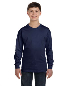Navy Youth 6.1 oz. Tagless® ComfortSoft® Long-Sleeve T-Shirt