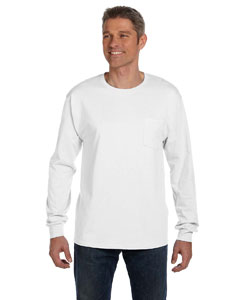 White 6.1 oz. Tagless® ComfortSoft® Long-Sleeve Pocket T-Shirt