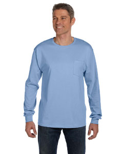 Light Blue 6.1 oz. Tagless® ComfortSoft® Long-Sleeve Pocket T-Shirt