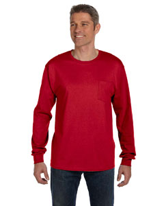 Deep Red 6.1 oz. Tagless® ComfortSoft® Long-Sleeve Pocket T-Shirt