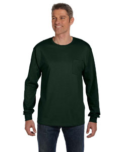 Deep Forest 6.1 oz. Tagless® ComfortSoft® Long-Sleeve Pocket T-Shirt