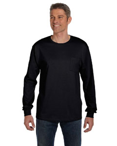Black 6.1 oz. Tagless® ComfortSoft® Long-Sleeve Pocket T-Shirt