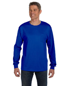 Deep Royal 6.1 oz. Tagless® ComfortSoft® Long-Sleeve Pocket T-Shirt