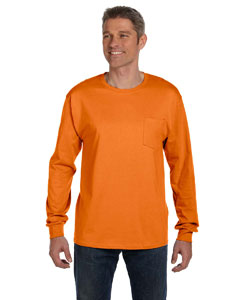 Orange 6.1 oz. Tagless® ComfortSoft® Long-Sleeve Pocket T-Shirt