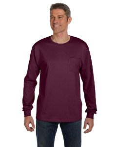 Maroon 6.1 oz. Tagless® ComfortSoft® Long-Sleeve Pocket T-Shirt
