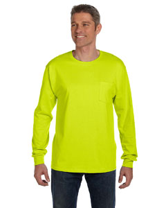Safety Green 6.1 oz. Tagless® ComfortSoft® Long-Sleeve Pocket T-Shirt