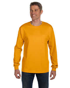 Safety Orange 6.1 oz. Tagless® ComfortSoft® Long-Sleeve Pocket T-Shirt