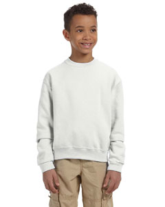 White Youth 8 oz., 50/50 NuBlend® Fleece Crew