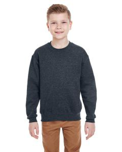 Black Heather Youth 8 oz., 50/50 NuBlend® Fleece Crew
