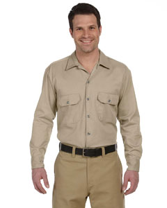 Khaki Men's 5.25 oz. Long-Sleeve Work Shirt
